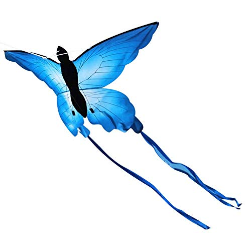 Cometa con forma de mariposa larga con mango de 30 m, juguete volante de exterior para niños, apto para uso en parques, jardines, playas y salidas primaverales