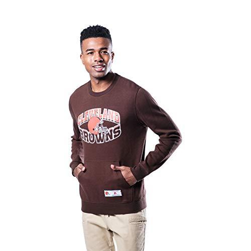 Ultra Game NFL Cleveland Browns Mens Fleece Crew Sweatshirt, Team Color, X-Large