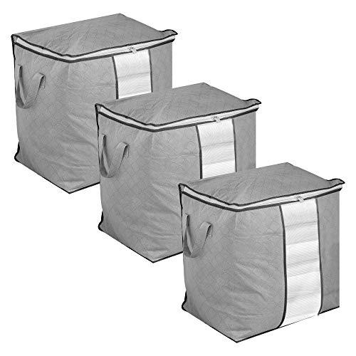 Set of 3 Storage Bags   Moth Proof Clothes Organiser   Waterproof Garment Covers   Large Duvet Bags with Zips   Bedroom Under Bed Solution   Pukkr (Vertical)