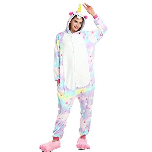 Regenboghorn Unisex Einhorn kostüme, Schlafanzug, Pyjama,für das Halloween ,Karneval und Weihnachten mit der Kapuze (L(165-175CM), Stern)