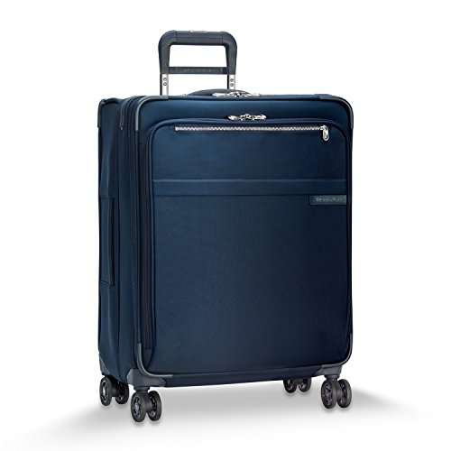 Briggs & Riley Baseline-Softside CX Expandable Medium Checked Spinner Luggage, Navy, 25-Inch