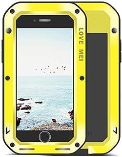 UFinetech Cuerpo Completo iPhone 8 Funda iPhone 7 Carcasa, Silicona TPU Bumper Anti-Golpes Caídas Protección Case para iPhone 7/8 360 Protector Anti-Arañazos con Templado Vidrio Pantalla (Amarillo)