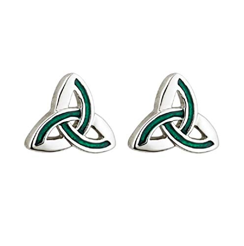 Tara Irish Jewelry Earrings for Women Trinity Knot Earrings Rhodium Plating & Green Enamel Made in Ireland