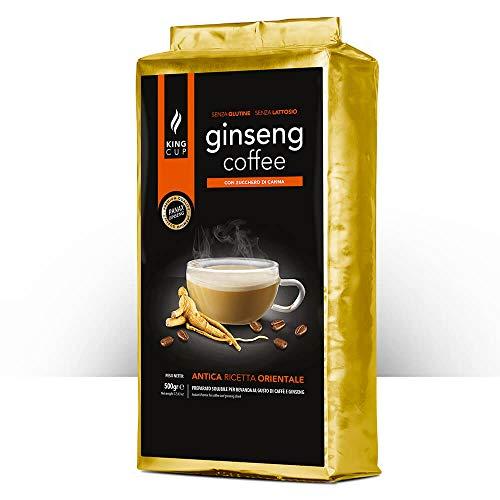 King Cup - 1 Verpackung mit 500 Gr Ginseng mit Brauner Rohrzucker-Löslichem Kaffeepulver zum Süßen, Ideal zum Hinzufügen zu Heißem Wasser, Glutenfrei, Laktosefrei und Gentechnikfrei