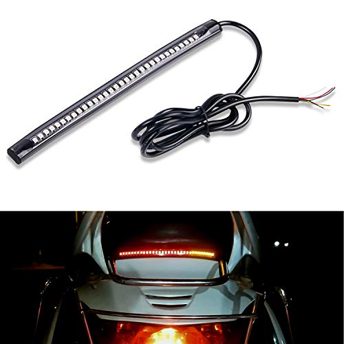 Nilight 32 LED 8'' Flexible License Plate Light Strip Tail Brake Stop Turn Signal Light Universal for Harley Motorcycle Bike ATV Car SUV, 2 Years Warranty