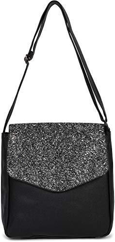 styleBREAKER Damen Messenger Bag Umhängetasche mit Pailletten Überschlag, Schultertasche, Crossbody Bag, Tasche 02012294, Farbe:Schwarz-Anthrazit