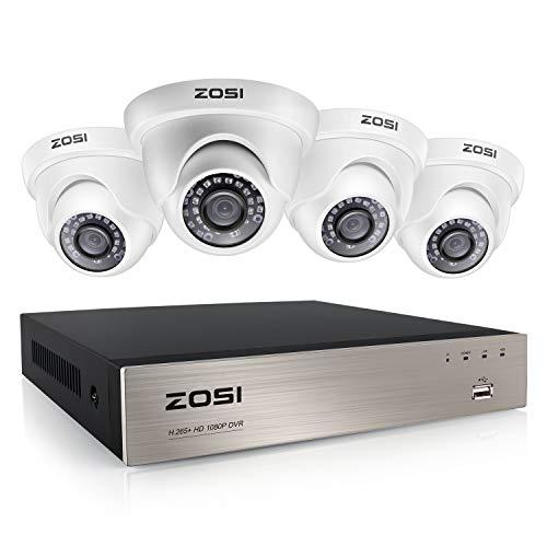 ZOSI 1080P Kit de Cámaras Vigilancia Exterior 8CH H.265+ Grabador DVR con (4) Cámara de Seguridad Impermeable, sin Disco Duro, 20m Visión Nocturna, P2P