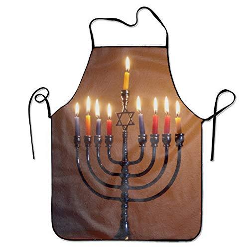 doormatscool Hanukkah Stylist Bib Apron Adult Women Unisex Durable Comfortable Washable for Cooking Baking Kitchen Restaurant