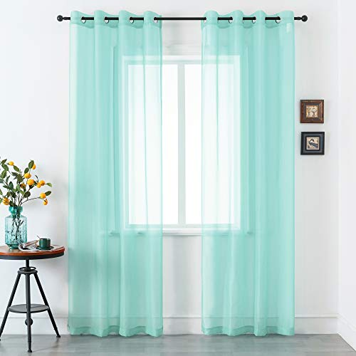 DUALIFE Aqua Blue Voile Sheer Curtains Grommet,Look Semi Sheer Windows Panels,Elegant Solid Color Touch Soft Drapes,52X96 Inch for Living Room Bedroom, Set of 2 Panels