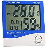Termometro igrometro misuratore di umidità di Prova del Tester di Temperatura, di Grande Schermo elettronico termometro e igrometro (Temperatura/umidità/Orologio/Sveglia/promemoria Ore),Blu