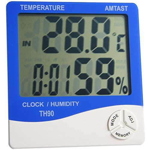 Cestbon Thermomètre hygromètre Compteur d'humidité Test de température mètre, Grand écran et électronique thermomètre hygromètre (Température/Humidité/Horloge/Alarme/Heure Rappel),Bleu