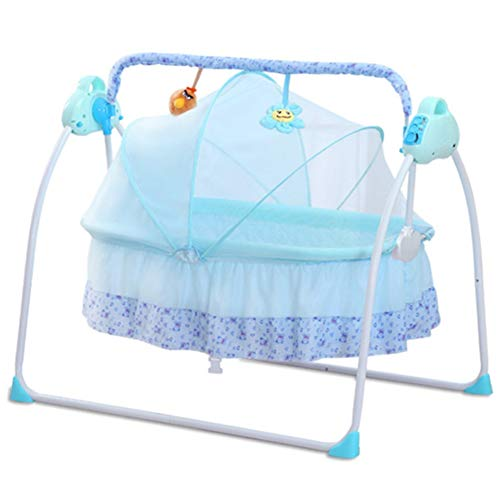 XXW Electric Baby Cradle Folding Cradle Bed Crib Music Electric Rocking Chair 3 Swing Strength Sound Remote Control with Bluetooth Function Suitable for 0-36Months,Blue