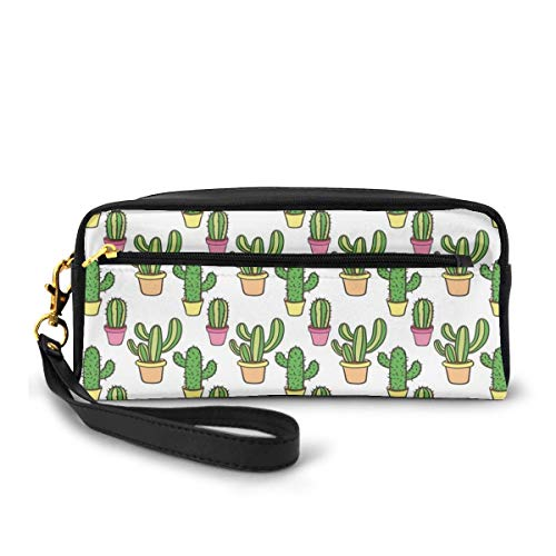 Pencil Case Pen Bag Pouch Stationary,Vases and Pots with Flowers Cute Cartoon Drawing Colorful Summer Plants Design,Small Makeup Bag Coin Purse