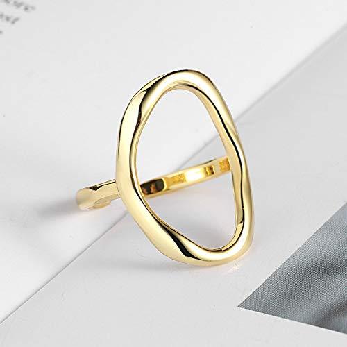 WRRPS Arete AnenJery Minimalista Irregular Hollow Ellipse Gold Silver Color Anillo geométrico para Mujeres Anillos Abiertos S-R711 para decoración (Gem Color : Gold, Ring Size : Resizable)
