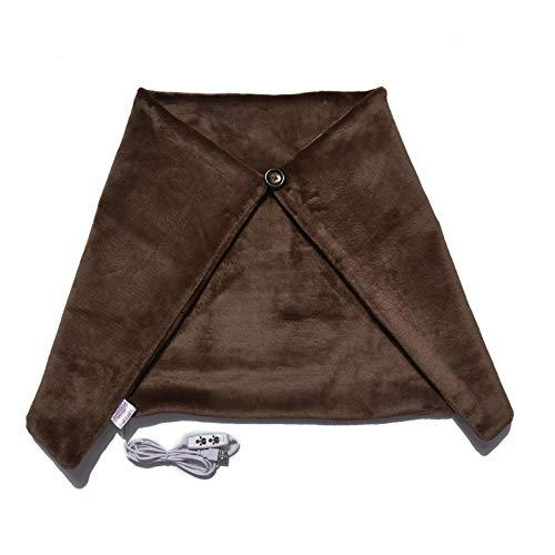 Manta de hombro con calefacción eléctrica Chal con calefacción USB Tela de terciopelo suave portátil con regulación de temperatura de tres niveles para uso en oficinas y sofás, color negro / café