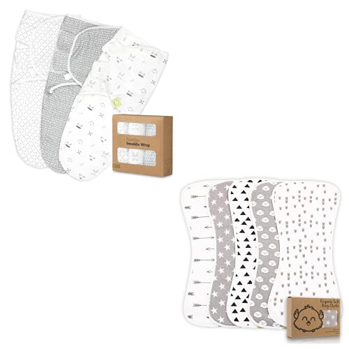 Organic Baby Swaddle Wrap Blankets and Organic Burp Cloths Bundle - Baby Essential for Newborn, Boy, Girl - Ideal
