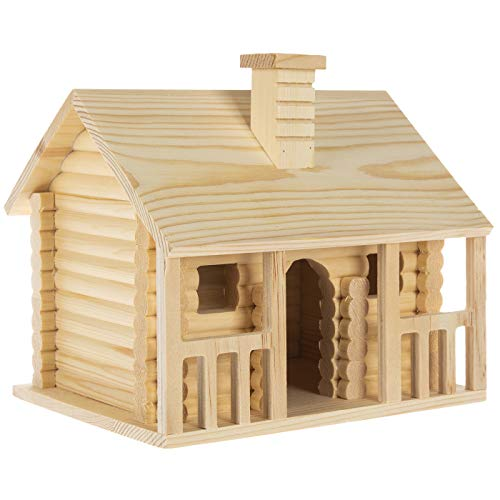 Woodpile Fun! Log Cabin Unfinished Wood Birdhouse