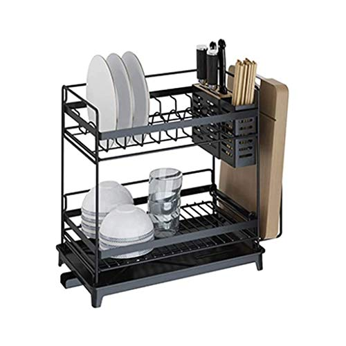 DDEHS Stainless Steel 2 Tier with Utensil Holder, Cutting Board Holder, Removable Dish Drainer,for Home Kitchen Hygienic