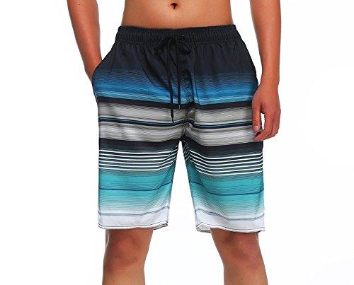 Milankerr Men's Swim Trunks, Blue, Tag Size L:Waist=38-40 inch