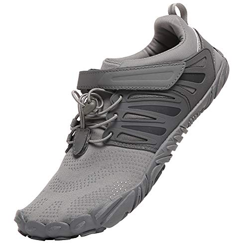 KUTHAENDO Mens Trail Running Minimalist Barefoot Shoes Wide Toe Box 5 Five Fingers Lightweight Athletic Casual Walking Footwear Grey Gray Size 8