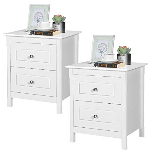 Yaheetech White Bedside Table Set of 2 Sofa Side End Table Corner Table with 2 Drawer Bedroom/Living Room Furniture 48 x 40 x 55cm