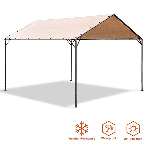 Eurmax Patio Garden Gazebo 10 x 10 Feet Herringbone Canopy with Soft Top Outdoor Canopy Carport,...