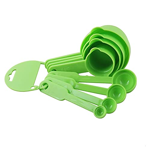 E-COSMOS Measuring Spoon and Cup Set, 8-Pieces (Plastic, Green, Pack of 1), Mix Size (EC-Spoon-Green)