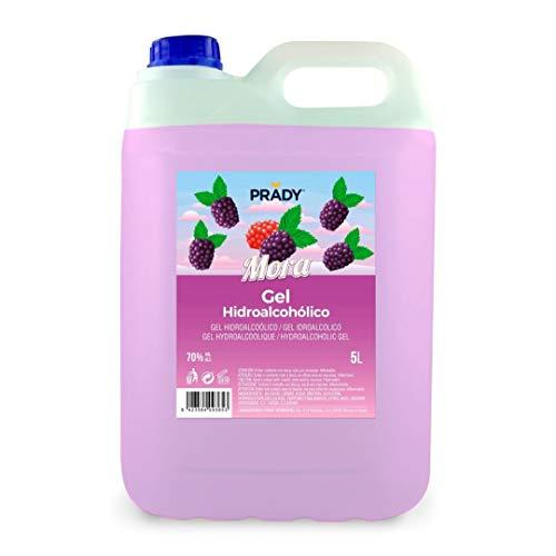 Gel Hidroalcohólico olor a Mora 5 litros Prady - Fabricado en España - 70% de Alcohol con Dosificador - Niños Aroma Golosinas Perfumado Fragancia Desinfectante Manos Bactericida Dispensador Hidrogel