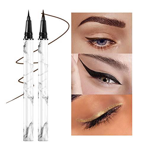 Liquid Eyeliner, Waterproof Eyeliner, Imperméable Eyeliner, Eye Liner Pencil, 2pcs Eyeliner durable super pigmenté, imperméable, précis et à séchage rapide, Noir et marron