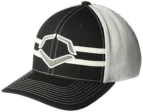 Wilson Sporting Goods Evoshield Grandstand Flexfit Hat, Black/White, Large/X-Large(7 3/8-7 5/8)