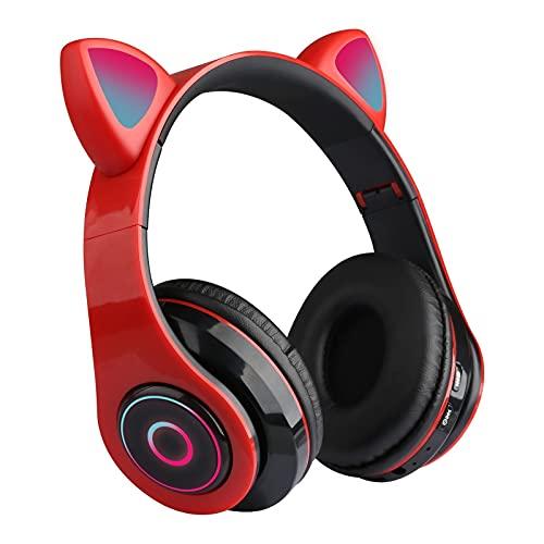 BENIDOZA GUIDATO Cute Cat Eards Bluetooth-Compatible5.0 Cuffie Wireless Cuffie per Cuffie da Gioco Auricolare colorato con Microfono Miglior Regalo per Bambini Adulti (Color : 05)