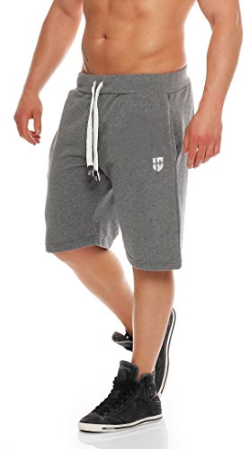 Gennadi Hoppe Herren Sweat Short Cotton Sweat Short Kurze Hose Bermuda Sweatpant Sport Shorts,grau,4XL