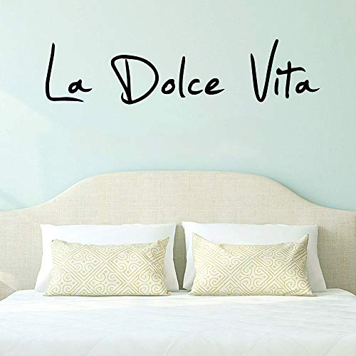 Zitate La Dolce Vita Wandaufkleber Abnehmbare Wandaufkleber für Kinderzimmer Dekoration Wandtattoo Wohnkultur Kaffee XL 90cm X 21cm
