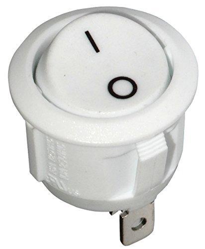 AERZETIX: Interruptor pulsador conmutador basculantes de boton SPST OFF-(ON) 6A/250V 20A/12V, 1 posicion, Blanco C10677