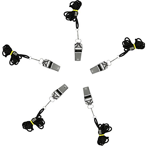 com-four® 5X Premium Trillerpfeife mit Schlüsselanhänger - Signalpfeife für die Sicherheit - Fußballpfeife, Schiedsrichter-Pfeifen aus Metall für akustisches Signal (Mit Umhängeband - 05 Stück)