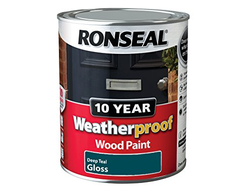 Ronseal WPDTG750 750 ml 10 Year Weatherproof Exterior Wood Deep Gloss Paint - Teal