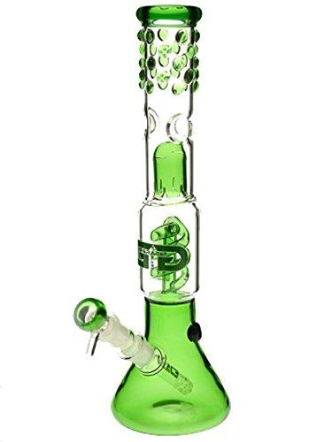 Grace Glass Perc-Eisbong mit grünen Verzierungen - 35 cm, 18,8 mm - Head&Nature Bong-Kollektion