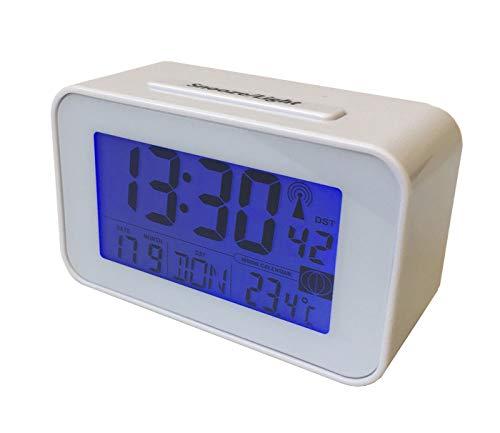 Tischwecker, Tischuhr, Funkuhr mit Thermometer Funkwecker Wecker Uhr (4491) in weiß