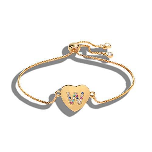 Watopi 1PC 26 Letter Pull Bracelet Lovely Delicate Peach Heart Accessories Wrist Chain Colorful Zircon Jewelry Female Bracelet for Valentine