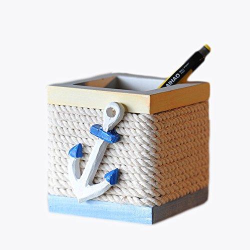 Scrox 1x Stiftehalter Mediterranes Element Pen Pot Holz Bleistift Topf Stifteköcher Stiftebox kreative Dekoration Schreibtisch Organisator,Student Geburtstagsgeschenk, 8 * 9 * 8.5cm, Anker 2