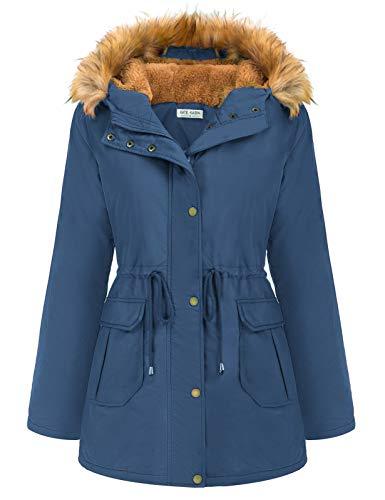 Kate Kasin Women's Winter Warm Hooded Parka Coat with Thicken Fleece Lined...