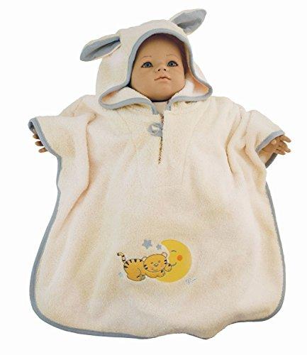 BIECO Baby poncho badjas van 100% katoen in beige, met motief, ca. 79 x 65 x 0,5 cm, vanaf 0 maanden. Kat Mia beige