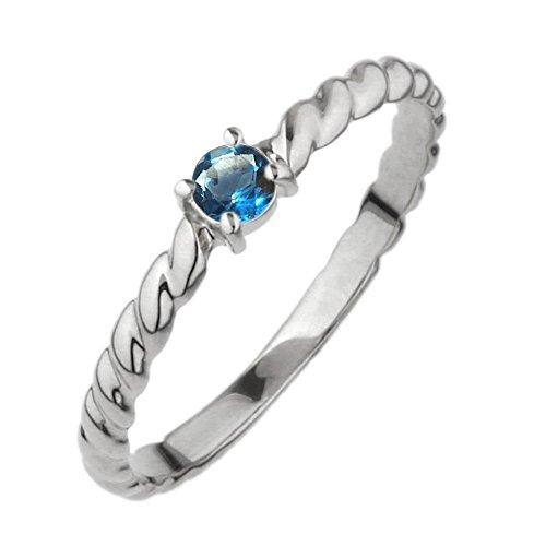 [リュイール] リング ブルートパーズ 11月 誕生石 プラチナ Pt900 一粒 縄模様 レディース 結婚指輪 7号