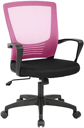 Mesh Executive Office Chair, 250lbs Modern Mid Back Rated Swivel Ergonomic Executive Office Chair, High Breathable Computer Task Desk Chair with Lumbar Support Arms for Study Meeting Room (Pink)