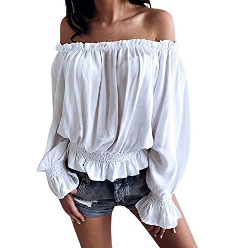 LSAltd Frauen-reizvoller Schlauch-Oberseite Weg von der Schulter-Chiffon- Rüsche-Hemden übersteigt beiläufigen Normallack-langärmligen Blusen-Pullover