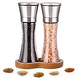 LessMo Gewürzmühle mit Tablett, Pfeffermühle mit einstellbarem Grobheitsmechanismus - Salz- und Pfeffermühle aus Edelstahl, 2 pro Set, Würzen, Pfeffer, Salz und Chili