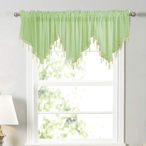 White Sheer Tulle Beaded Valance Curtains 2 Pieces Kitchen Cafe Rod Pocket Swag Window Curtain Valances with Bead Trim for Bedroom Bathroom Nursery Living Room, 51 x 24 Inch Length (Green)