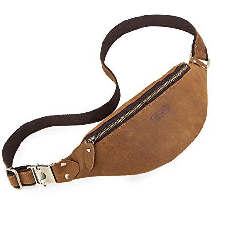 CONTACTS Cuero real hombre pequeño Crossbody cinturón bolsa cintura senderismo viaje monedero para teléfono (marrón)