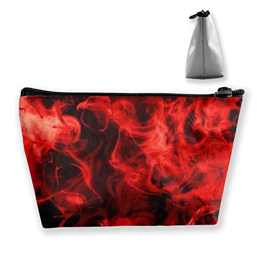 Estuche de maquillaje portátil con diseño de fuego, color rojo
