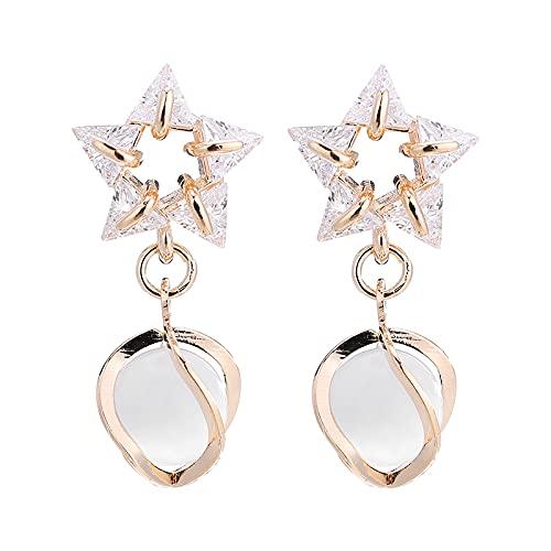 Pendientes de estrella de cinco puntas con aguja de plata 925, pendientes pequeños y frescos para niña, pendientes de corazón para niña Pentagrama Pendientes artificiales de perlas blancas